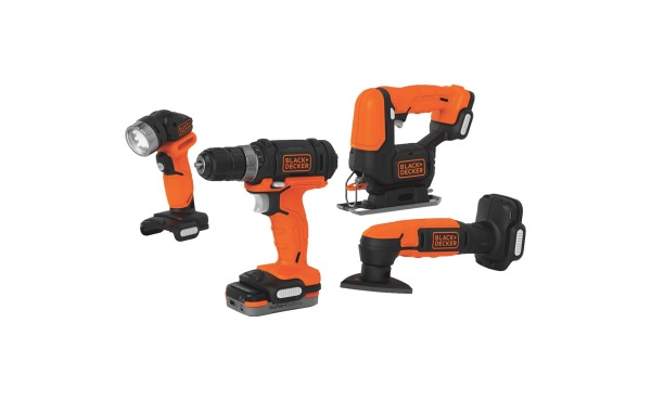 Black & Decker 4-Tool 12 Volt MAX Lithium-Ion Drill\/Driver, Jig Saw, Detail Sander & Work Light GoPak Cordless Tool Combo Kit
